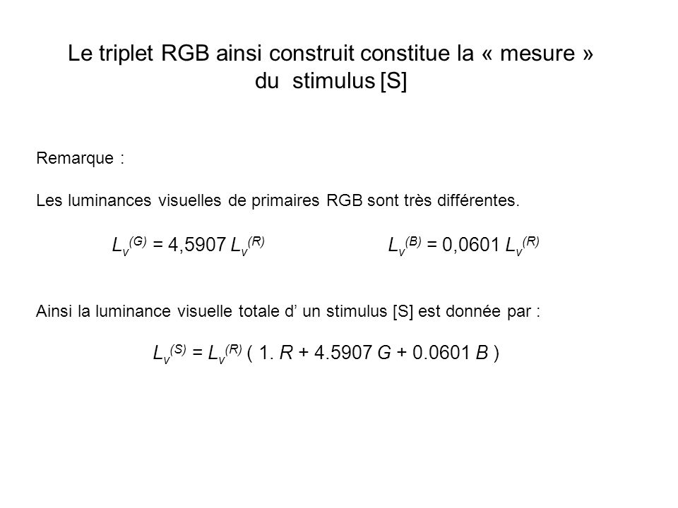 Le triplet RGB ainsi construit constitue la « mesure » du stimulus [S]